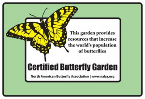 Outdoor weatherproof sign for NABA certified butterfly garden
