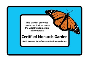 NABA certified butterfly gardeners may purchase an outdoor, weatherproof certification sign with a Monarch image if their gardens contain at least one milkweed plant.
